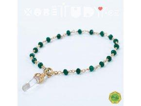 Náramek Rosary s křišťálem a drahokamy, Gold Filled, zelený jadeit