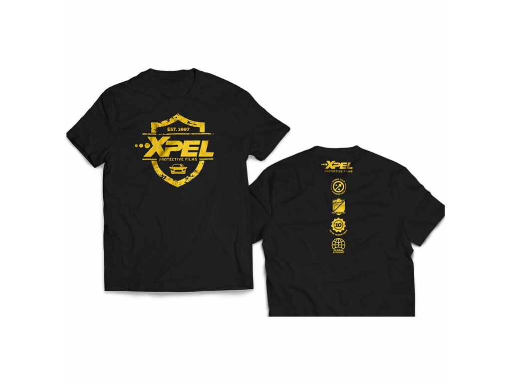 xpel men´s black w/yellow trim t-shirt large