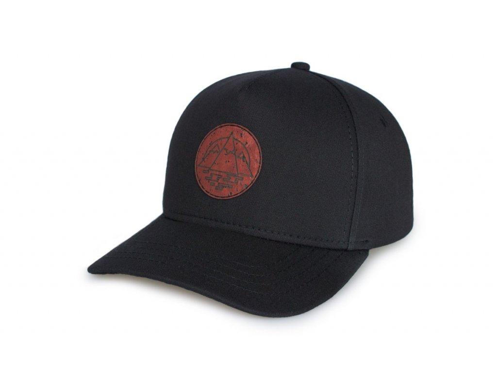 Snapback A-frame kšiltovka černá - mahagón / ohnutý kšilt