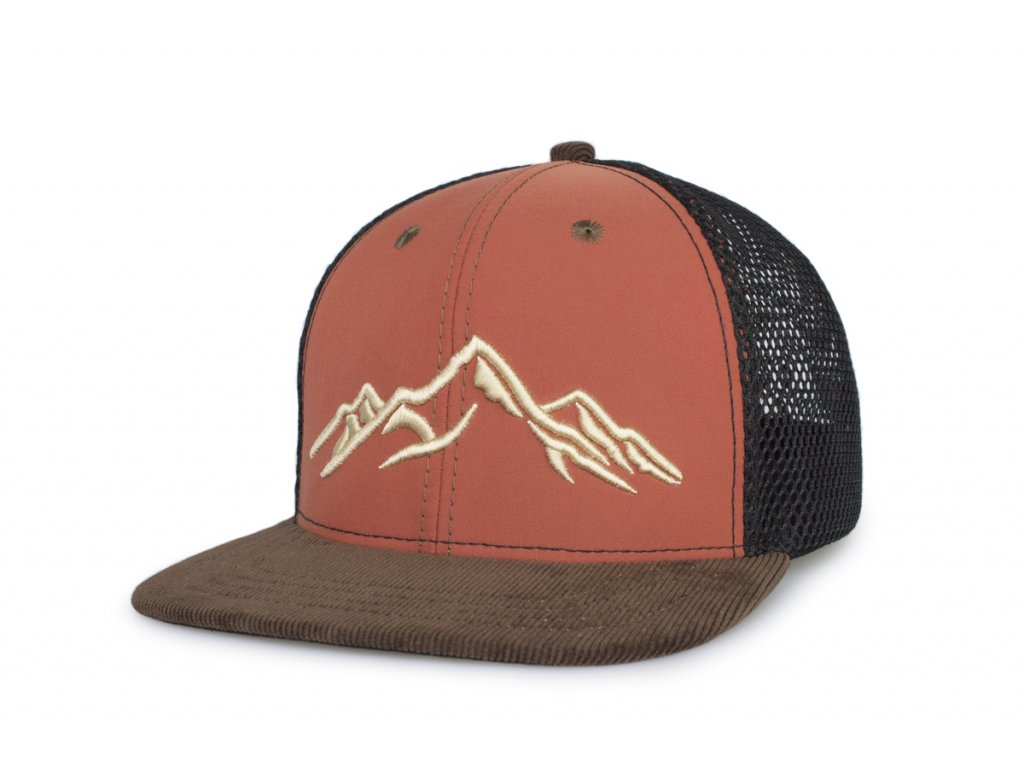 Trucker kšiltovka okrová 3D hory