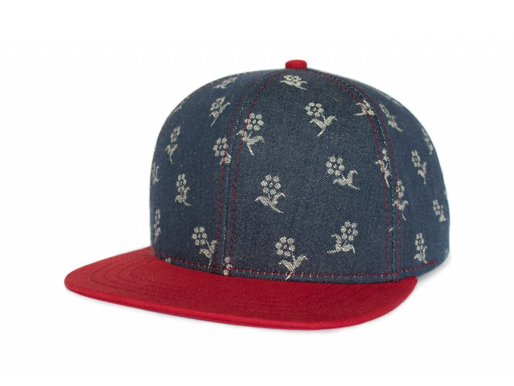 Snapback kšiltovka Flowers old denim red