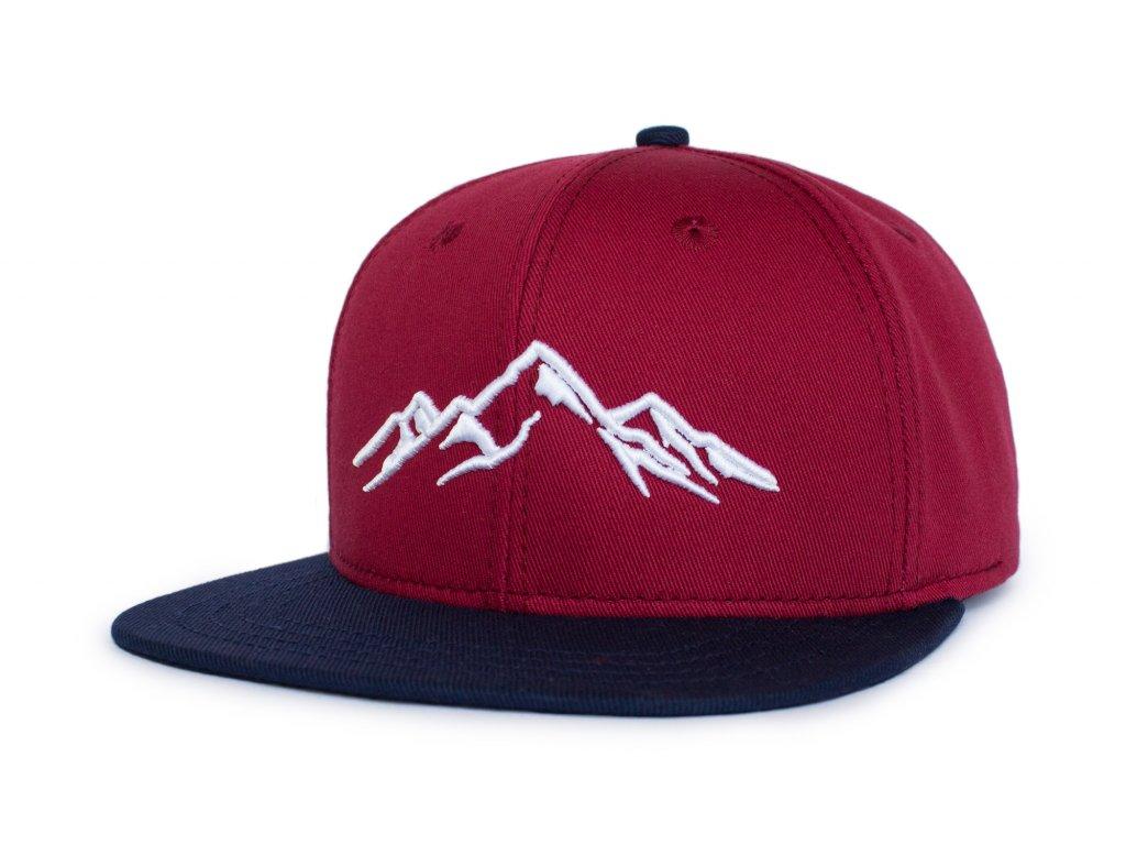 Snapback dětská kšiltovka - červená hory