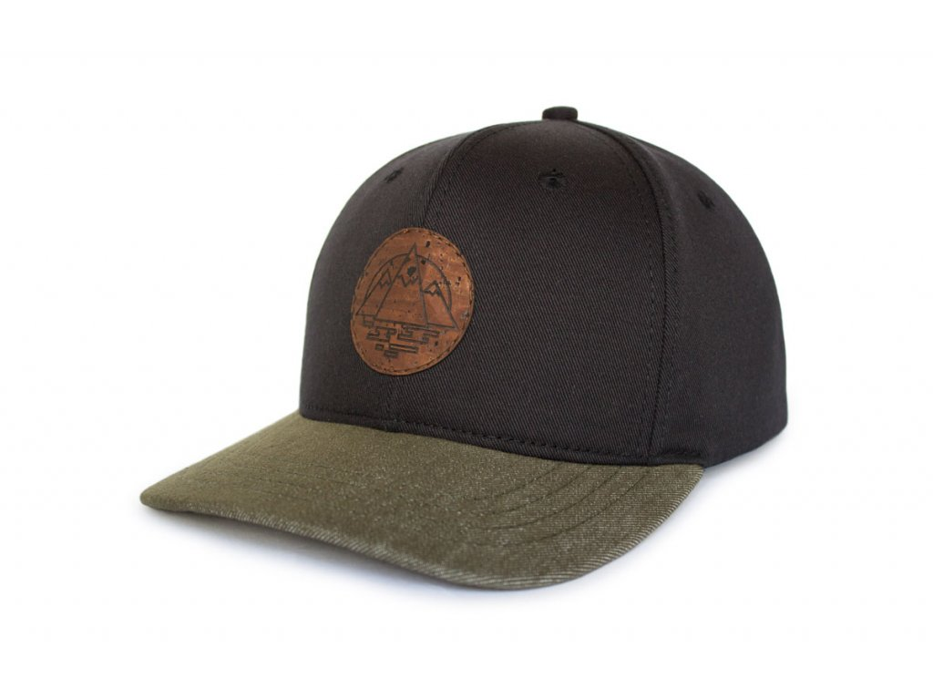 Snapback kšiltovka Hory - korek / khaki ohnutý kšilt