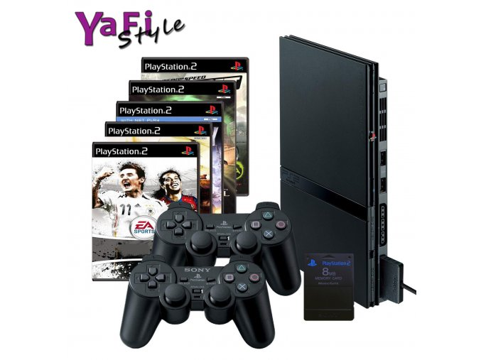 Sony Playstation slim 2 PS2, 2 ovladače, 5her a MC