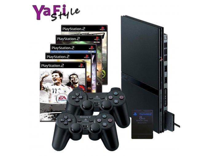Sony Playstation slim 2 PS2, 2 ovladače, 5her a MC