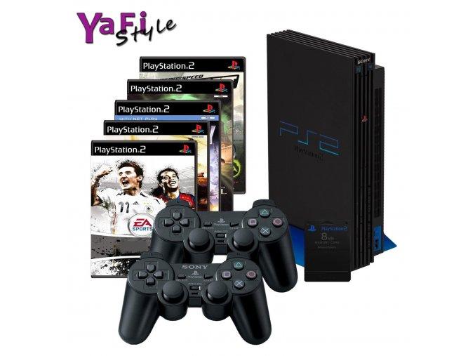 Sony Playstation 2 PS2, 2 ovladače, 5her a MC