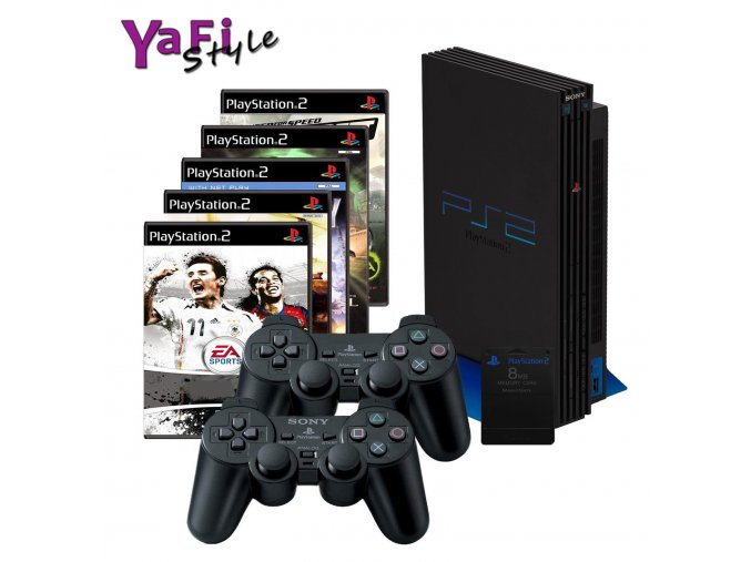 Sony Playstation 2 PS2, 2 ovladače, 5her a MC