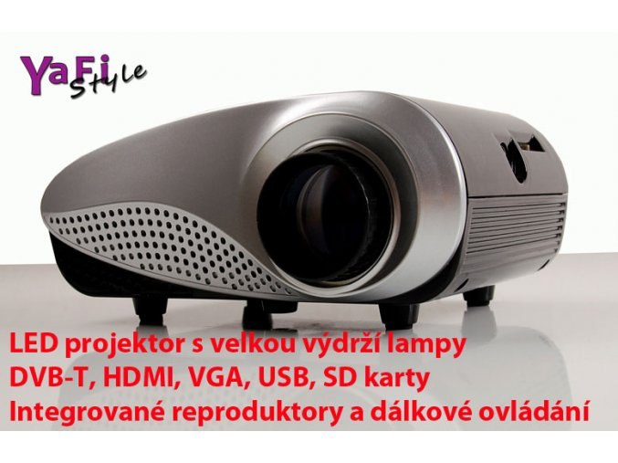 Mini přenosný LED projektor USB DVB-T HDMI SD VGA