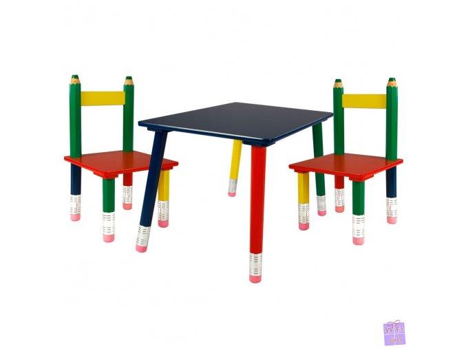 Dětský pastelkový nábytek stůl stoleček a židličky