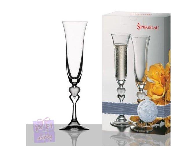 2 elegantní sklenice Sladké srdce na sekt