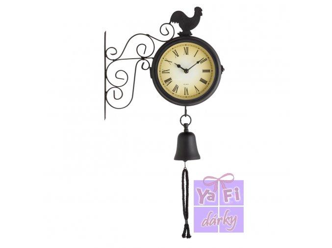Retro nástěnné zahradní hodiny se zvonkem, teploměr
