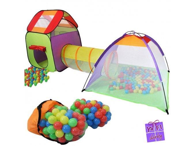 KIDUKU dětský třídílný stan, hrad, tunel, prolejzačka, 200 míčků