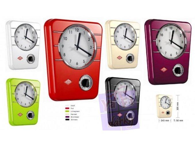 Wesco retro kuchyňské nástěnné hodiny s minutkou