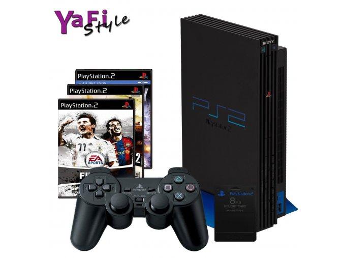 Sony Playstation 2 PS2 s příslušenstvím a 3 hry a paměťová karta