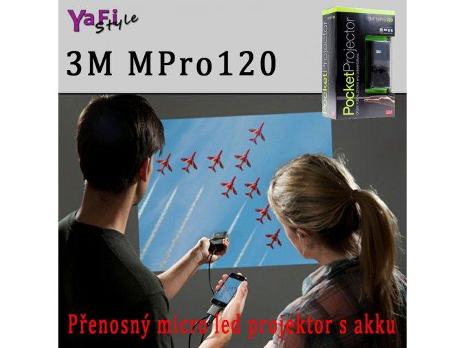 AKCE 3M MPro120 přenosný micro LED projektor s akku