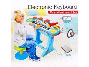 Dětské piano keyboard, mikrofon, sedátko, 2 barvy