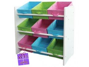 Dětský úložný regál box, 9 barevných zásuvek