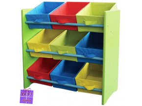 Dětský úložný regál box, 9 barevných zásuvek, zelený