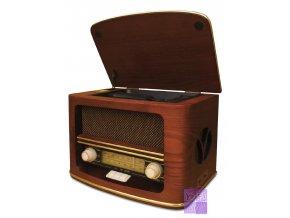 Retro historické dřevěné radio, CD přehrávač, hifi MP3 USB sestava