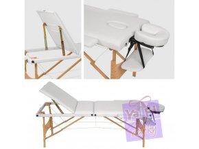 Třídílný dřevěný masážní stůl, kosmetický stůl, mobilní stůl lehátko