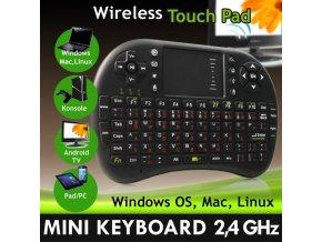 Mini bezdrátová klávesnice a myš set, touchpad