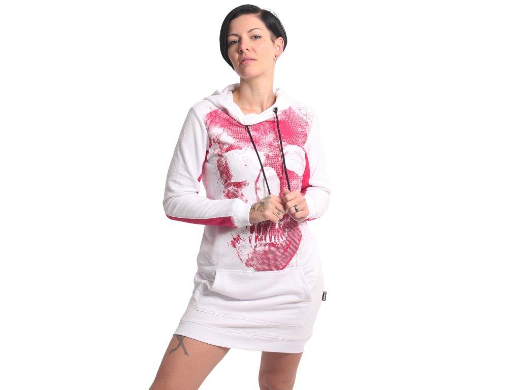 Yakuza dámska dlhá mikina šaty SKULL TWO FACE GKB 17113 white