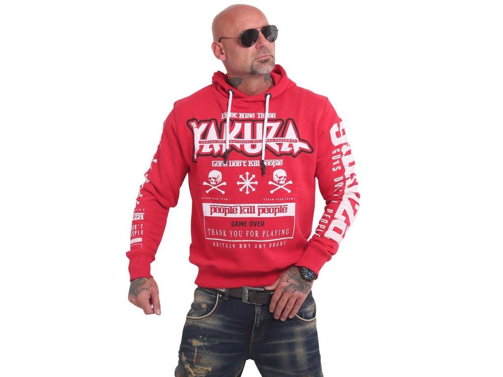 Yakuza GUNS vs PEOPLE mikina pánska HOB 17005 ribbon red