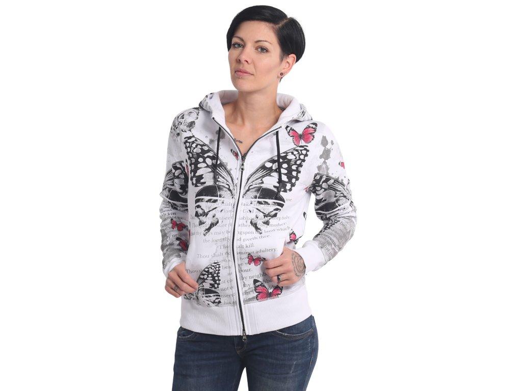 Yakuza BUTTERFLY MEADOW dámska mikina na zips GHZB 17107 white