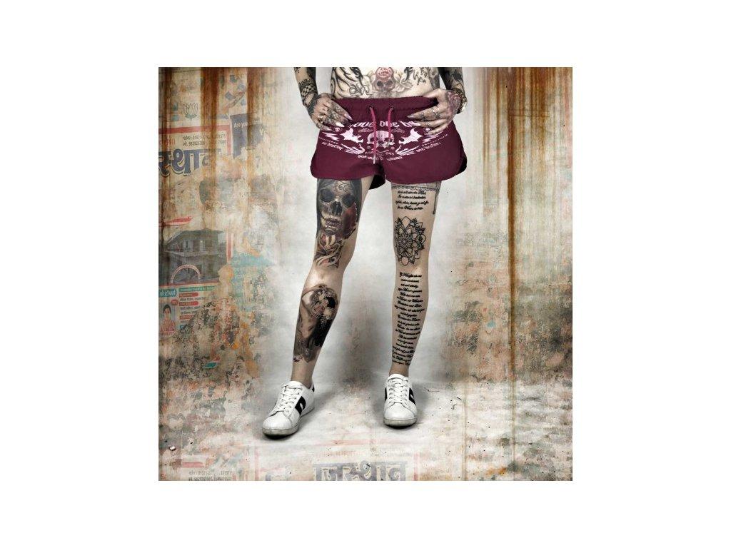 Yakuza dámske šortky ONE LOVE GSSB 10134 sangria