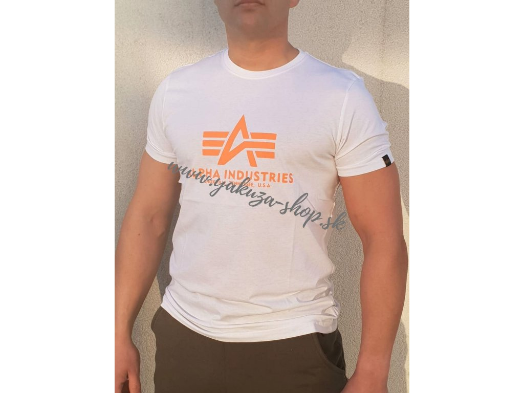 Alpha Industries Basic T Shirt White Neon Orange tričko pánske A