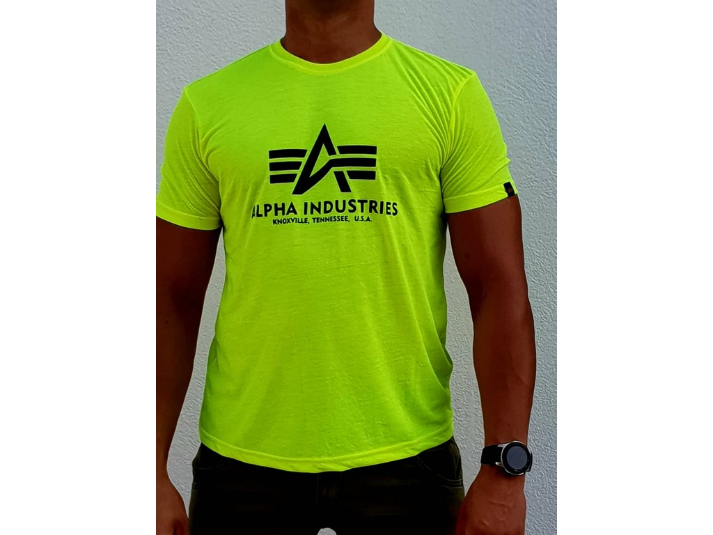Alpha Industries Basic T Shirt tričko neon yellow pánske