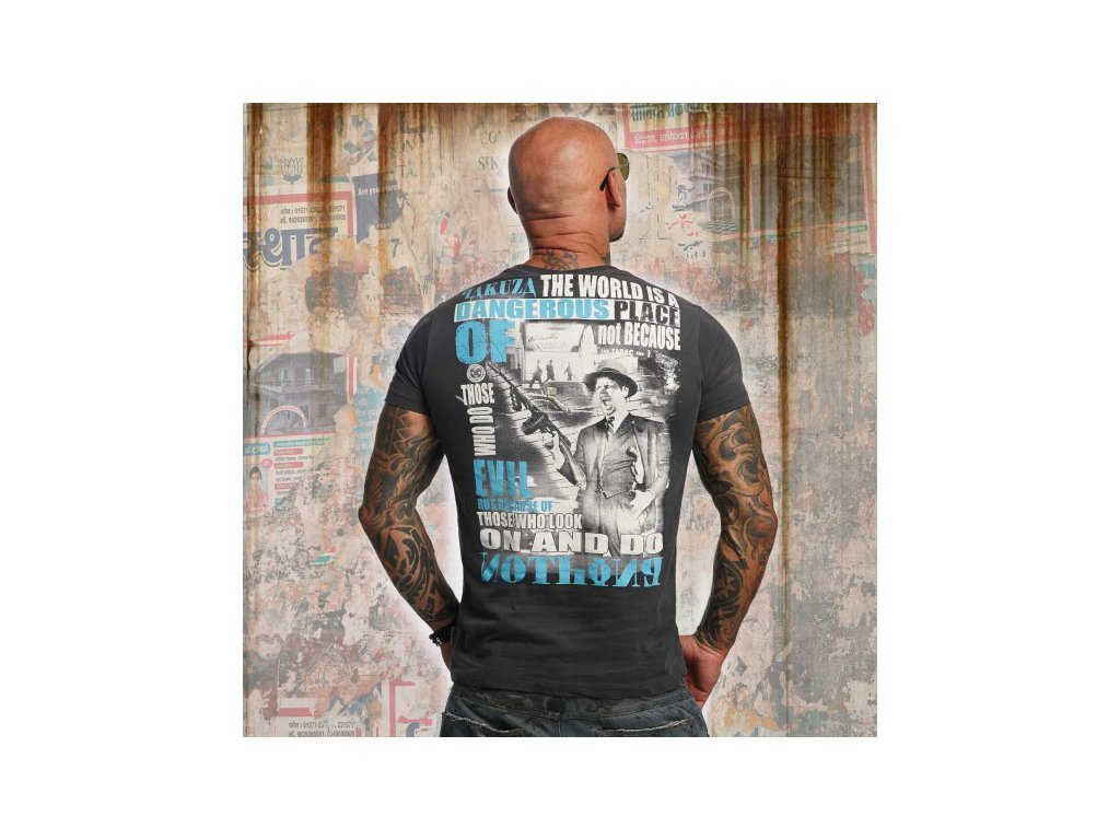 Yakuza tričko pánske DANGEROUS PLACE TSB 10015 Ebony