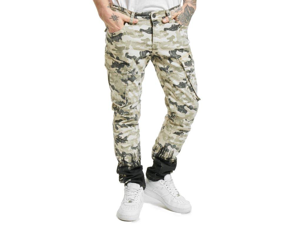 Yakuza pánske cargo nohavice SPLATTER CARGO PANTS CPB 17052 camouflage sand