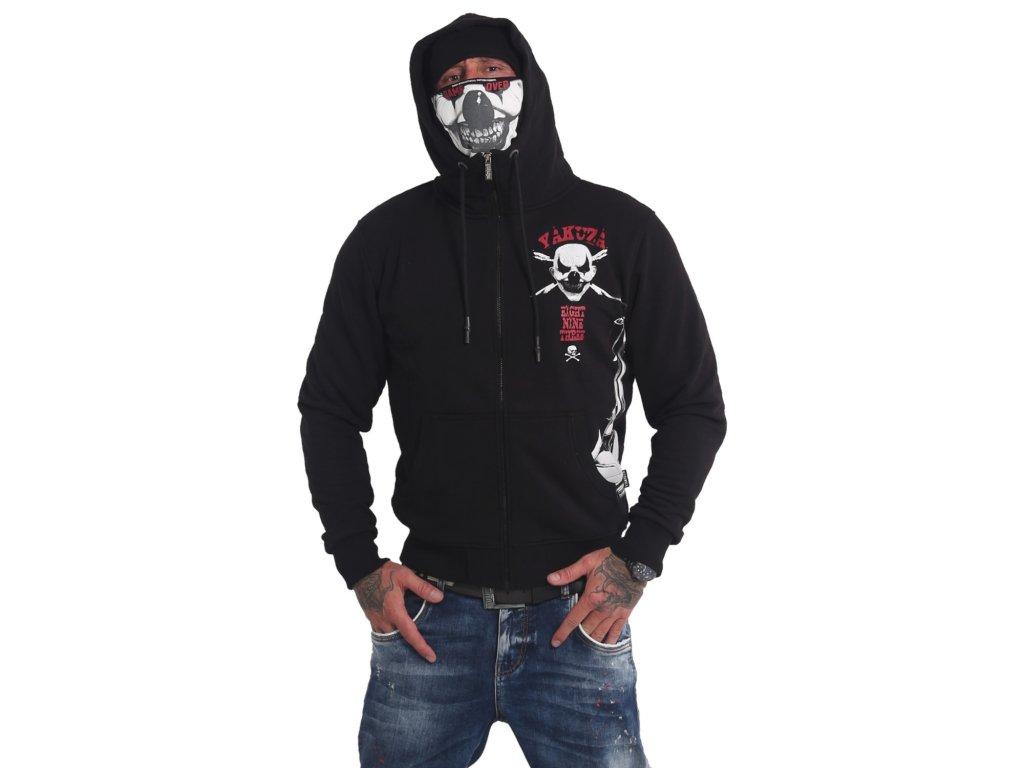 Yakuza DUE THE CLOWN NINJA mikina na zips HZB 17065 black s tvárovou maskou