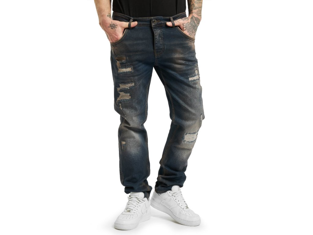 Yakuza jeansy pánske 420 STRAIGHT JEANS JEB 17060 dark blue purple destroyed