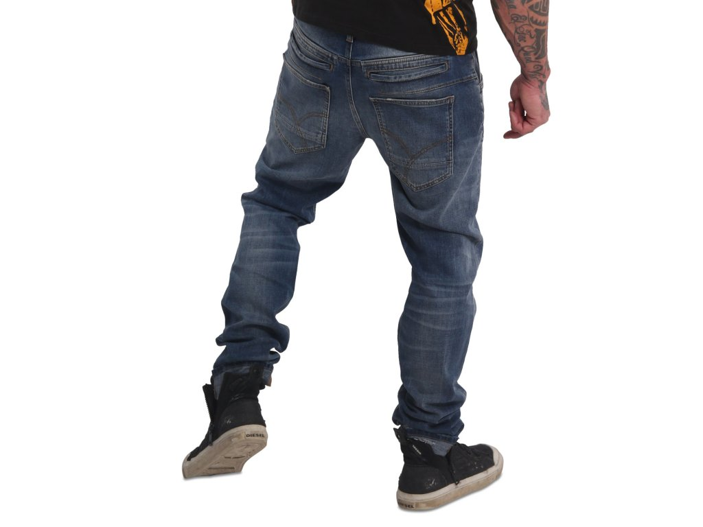 Yakuza jeansy pánske 420 STRAIGHT JEANS JEB 17059 mid blue paint destroyed