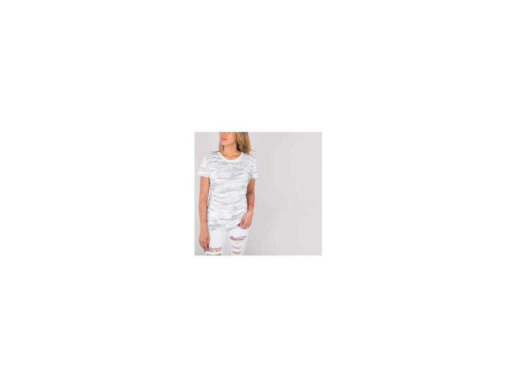 Alpha Industries Basic T Wmn white camo tričko dámske