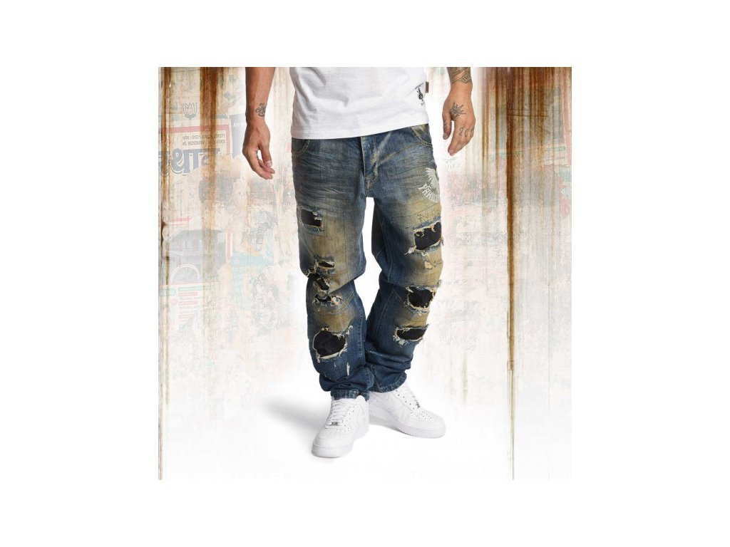 Yakuza jeansy pánske Skeleton loose JEB 10065 bronze distressed