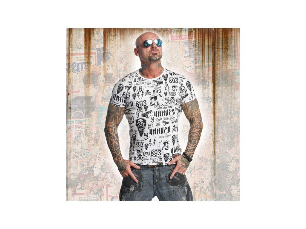 Yakuza tričko pánske ALLOVER LABEL TSB 11046 White