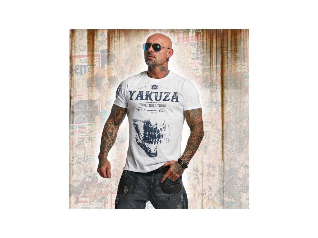 Yakuza tričko pánske DAILY SKULL TSB 11045 white