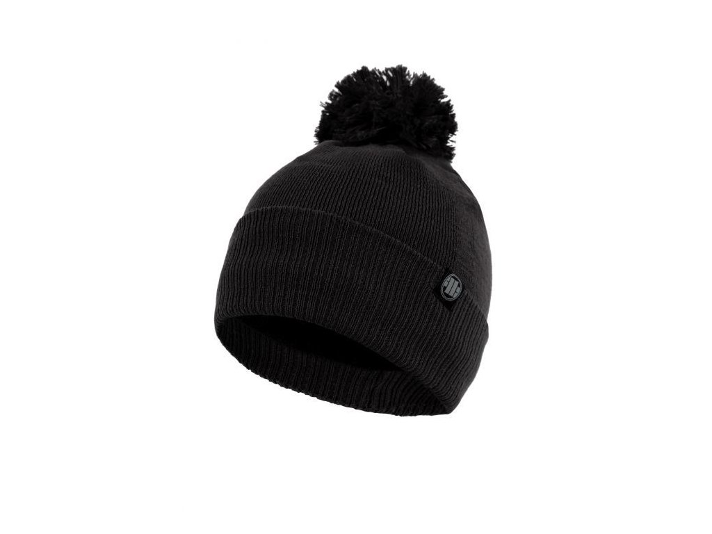 Pitbull West Coast zimná čiapka pletená SMALL LOGO black s brmbolcom