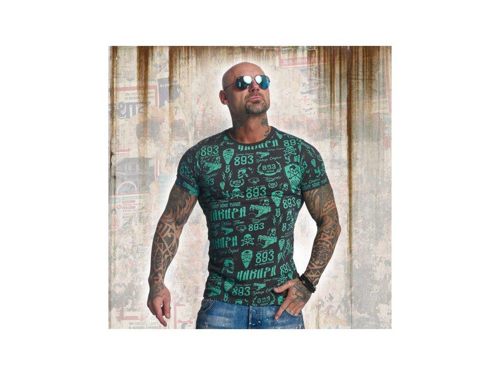 Yakuza tričko pánske ALLOVER LABEL TSB 11046 ebony