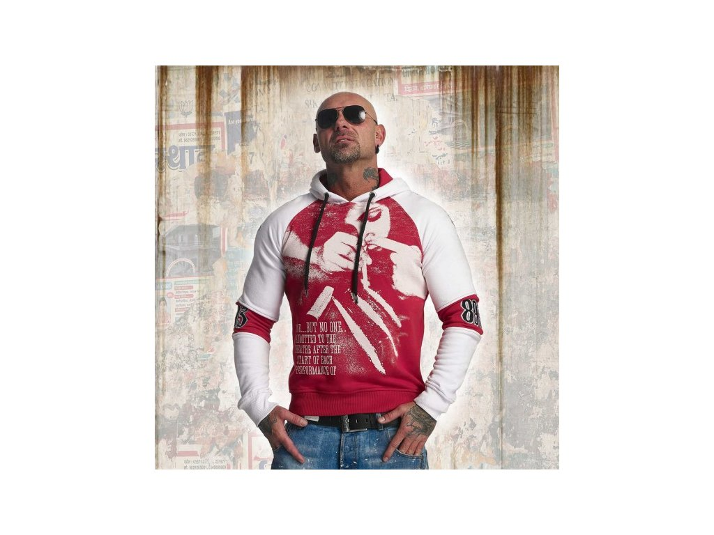 Yakuza SNORTING TWO FACE HOODY mikina pánska HOB 11006 ribbon red