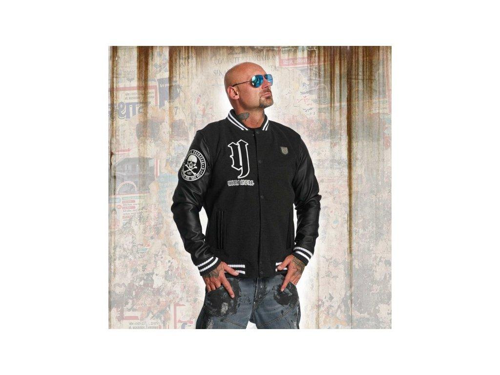 Yakuza CROSS BONES College jacke bunda pánska JB 11023 dark grey mellange