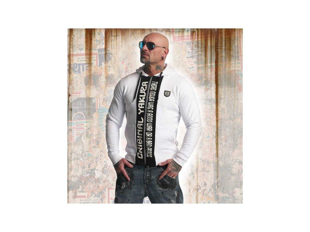 Yakuza SICK N FUCK mikina na zips HZB 11010 White