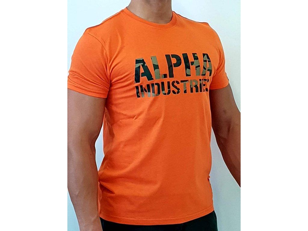 Alpha Industries Camo Print T Flame Orange tričko pánske