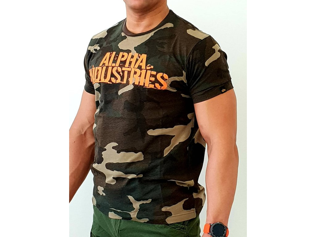 Alpha Industries Blurred T woodl camo tričko pánske