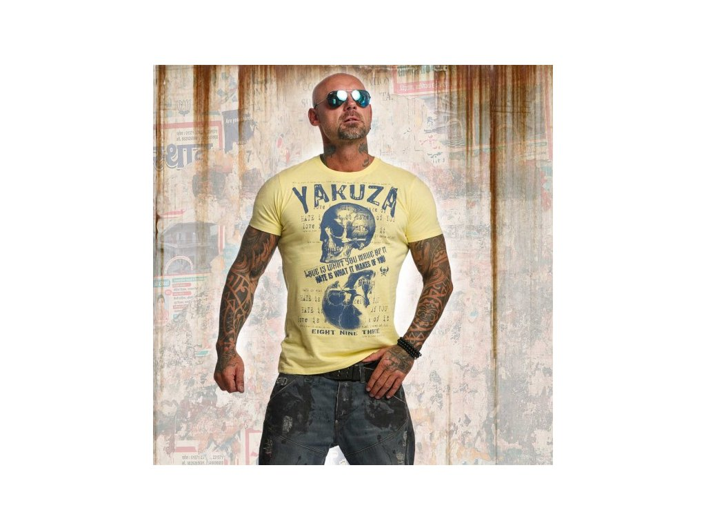 Yakuza tričko pánske LOVE HATE TSB 11039 pale banana