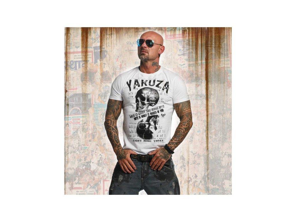 Yakuza tričko pánske LOVE HATE TSB 11039 white