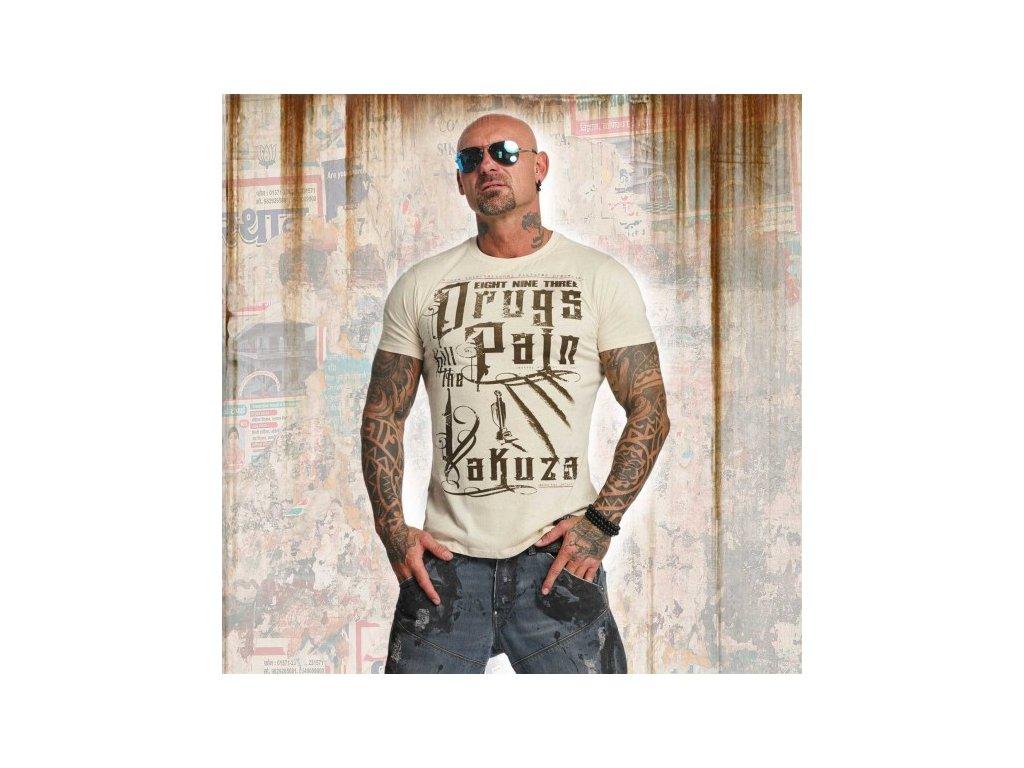 Yakuza tričko pánske DRUGS TSB 11042 bone white